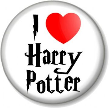 I Love / Heart Harry Potter Pinback Button Badge J K Rowling Wizard  Magic Books Movies
